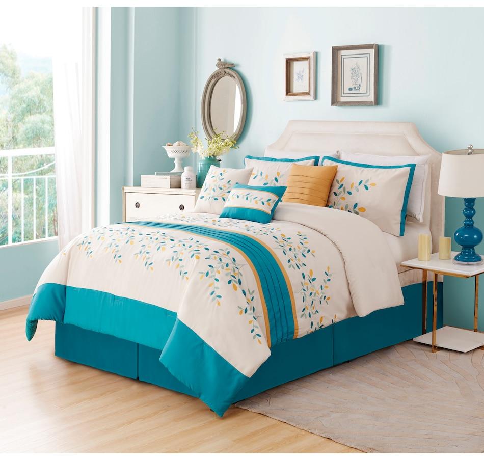 Image 625159_BLU.jpg , Product 625-159 / Price $143.99 - $153.99 , Lady Sandra Stroud 7-Piece Comforter Set from Lady Sandra on TSC.ca's Home & Garden department