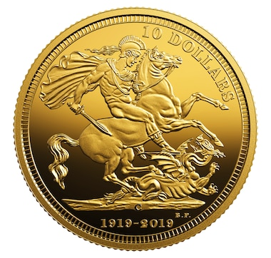 2019 $10 Pure Gold Coin 100th Anniversary of the Last Issued Sovereign