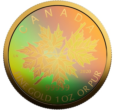 2020 Pure Gold Fractional Set Maple Leaf Hologram 4-Coin Set