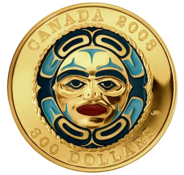 2008 $300 Gold Coin Four Seasons Moon Mask