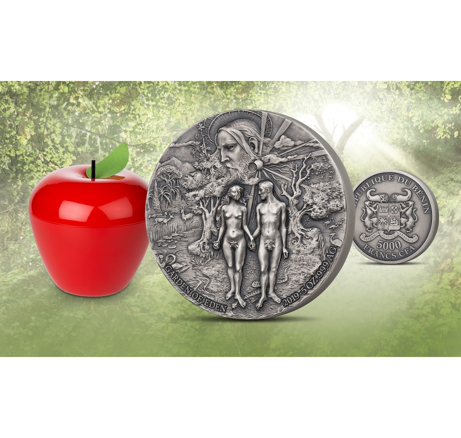 Image 625393.jpg , Product 625-393 / Price $699.95 , Garden of Eden Five-Ounce Fine Silver Coin from Canadian Coin & Currency on TSC.ca's Coins department
