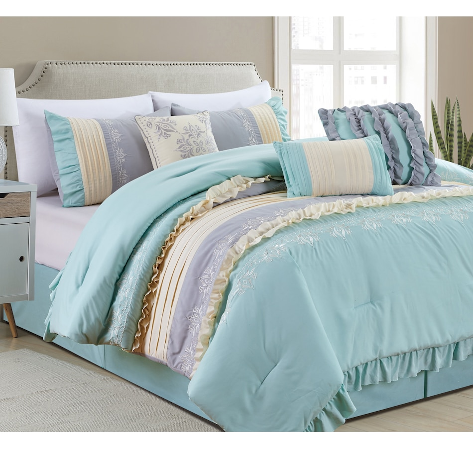 Image 625488_AQA.jpg , Product 625-488 / Price $119.00 - $129.00 , Casa Platino Antobella Collection 7-Piece Comforter Set from Affinity Linens on TSC.ca's Home & Garden department