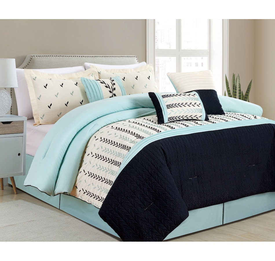 Image 625489_AQA.jpg , Product 625-489 / Price $119.00 - $129.00 , Casa Platino Floriaela Collection 7-Piece Comforter Set from Affinity Linens on TSC.ca's Home & Garden department