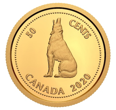 2020 1/10th Ounce $1 Pure Gold Coin Tribute to Alex Colville: Howling Wolf