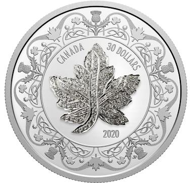 2020 $30 Fine Silver Coin Canadian Maple Leaf Brooch Legacy