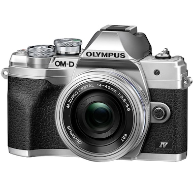 Olympus OM-D E-M10 Mark IV Silver Body with Silver M. Zuiko Digital ED 14–42 mm F3.5–5.6 EZ Lens Kit