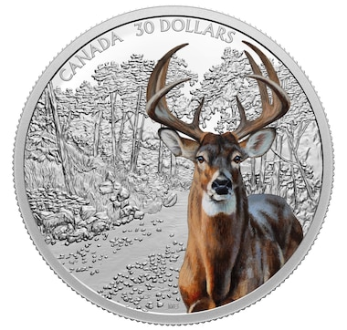 2021 $30 Two Ounce Pure Silver Coin Imposing Icons: White-Tailed Deer