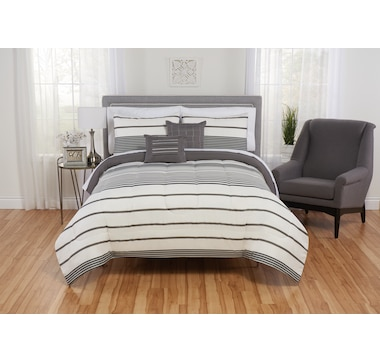 Beco Home Charley Grey Striped Comforter Set