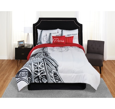 Beco Home Black And White Eiffel Tower Reversible Comforter Set