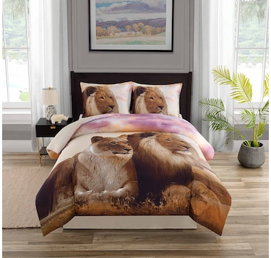 Beco Home Coupled Lion Comforter and Sham Set