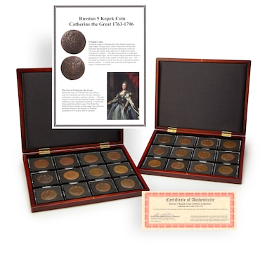 Near-Complete 24-Piece 5-Kopek Collection of Catherine the Great, 1763–1796