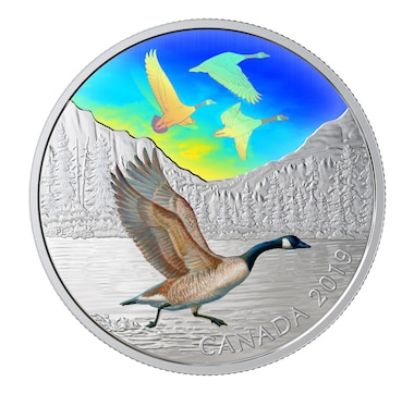 2019 Two-Ounce $30 Canada Geese Fine Silver Coin Majestic Birds in Motion: Canada Geese