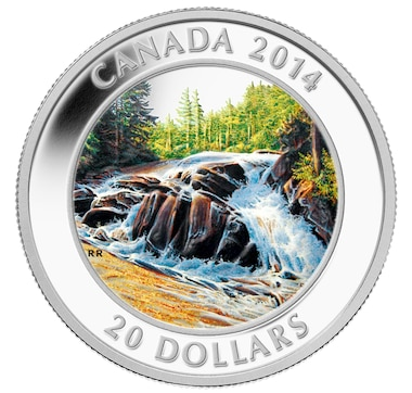 $20 Fine Silver Proof Coin - River Rapids with Bonus Art Card Hand-Signed by the Artist