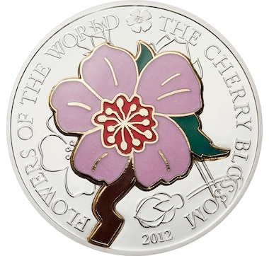 $5 Fine Silver Cherry Blossom Coin with Coloured Enamel