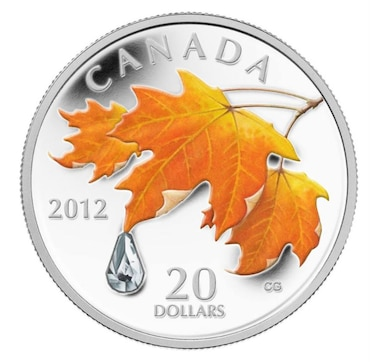 2012 $20 Fine Silver Coin Maple Leaf Crystal Raindrop
