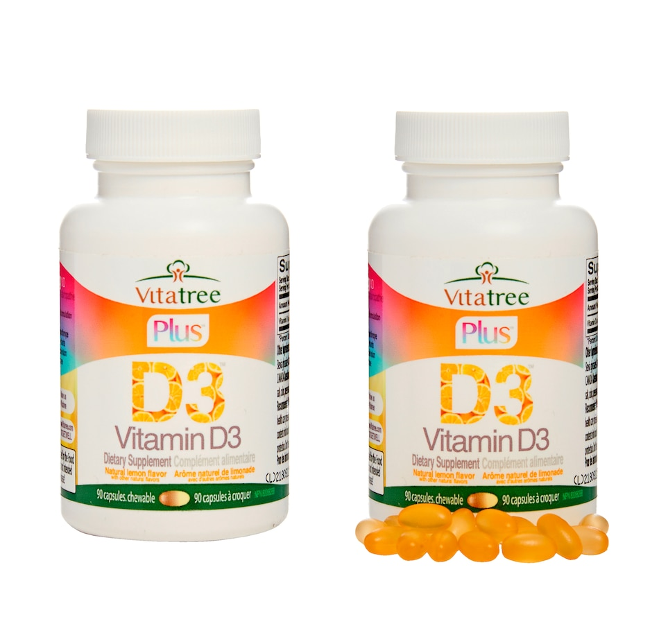 Image 632185.jpg , Product 632-185 / Price $29.99 - $82.99 , VitaTree Plus Vitamin D3 Chewable - 2 Bottles from VitaTree Nutritionals on TSC.ca's Health & Fitness department