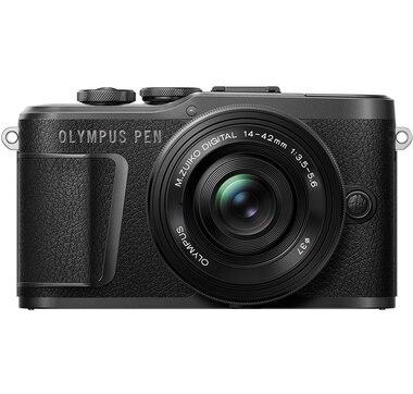 Olympus PEN E-PL10 Black Camera Body with Black M. Zuiko Digital 14–42 mm F3.5–5.6 EZ Lens, Camera Case, Lens Cloth and SD Card