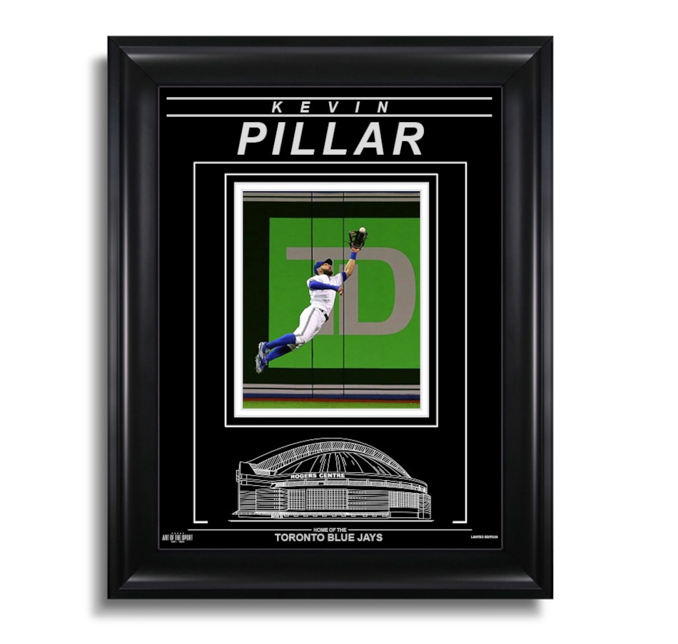 Image 633020.jpg , Product 633-020 / Price $72.99 , Kevin Pillar Toronto Blue Jays Engraved Framed Photo - Action Catch  on TSC.ca's Health & Fitness department