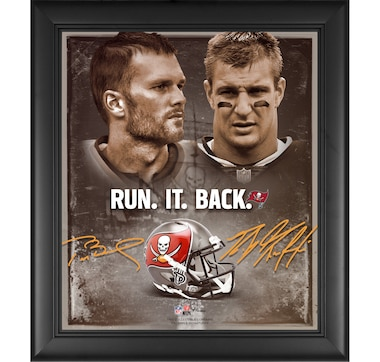 Fanatics Authentic Tom Brady and Rob Gronkowski Tampa Bay Buccaneers Framed Run it Back Collage