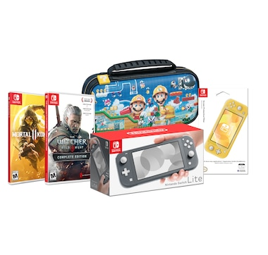 Nintendo Switch Lite Bundle with Mortal Kombat 11, The Witcher 3 plus Case and Screen Protective Filter