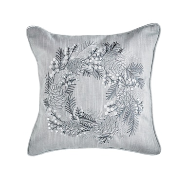 Mera Linens Silver Wreath Cushion Cover (Set of 2)