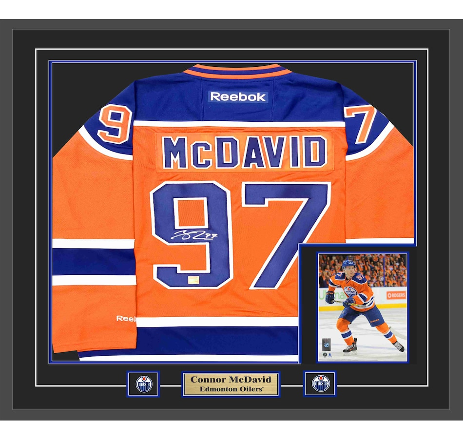 competitive price 80c77 f0bef Connor McDavid, Signed Framed Jersey with 8x10 Oilers Replica Orange