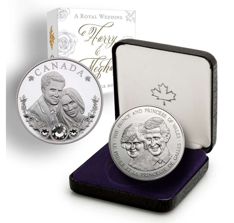 Image 646212.jpg , Product 646-212 / Price $159.95 , Royal Wedding Two-Coin Set - $20 Prince Harry and Meghan Markle Fine Silver Coin plus Diana Spencer and Prince Charles from Royal Canadian Mint on TSC.ca's Coins department