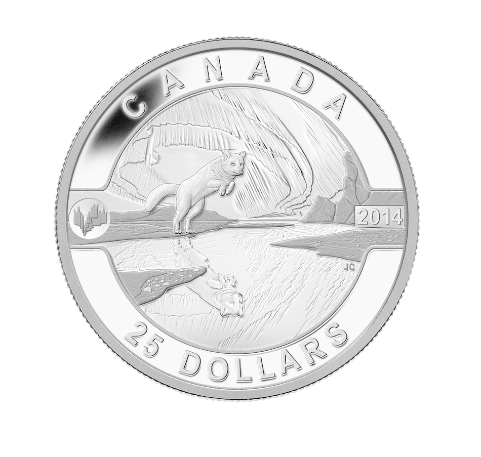 Image 646214.jpg , Product 646-214 / Price $89.95 , $25 Fine Silver Coin Arctic Fox and Northern Lights from Royal Canadian Mint on TSC.ca's Coins department