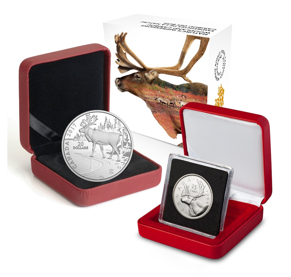 Image 646218.jpg , Product 646-218 / Price $102.95 , $20 Fine Silver Woodland Caribou Coin 2017 plus Bonus Young Effigy Queen Elizabeth II Silver Caribou Quarter 1953–1964 from Royal Canadian Mint on TSC.ca's Coins department