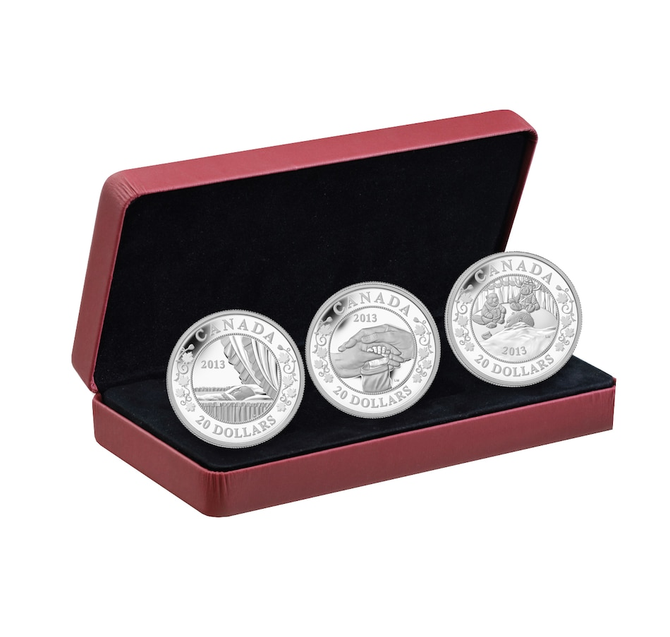 Image 646220.jpg , Product 646-220 / Price $249.95 , $20 Fine Silver Royal Baby Three-Coin Set from Royal Canadian Mint on TSC.ca's Coins department