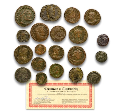 20 Ancient Roman and Greek Bronze Coins (2 Greek Coins and 18 Roman Coins)
