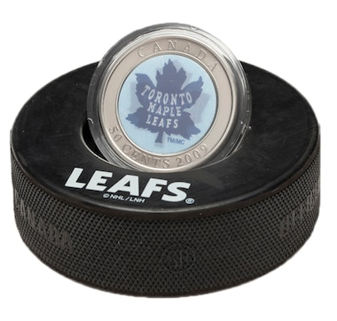 Toronto Maple Leafs Dual-Image Lenticular 50-Cent Coin in Official NHL Hockey Puck Display
