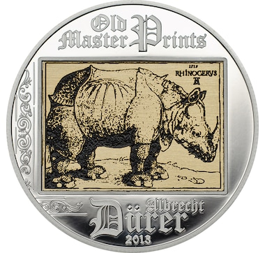 2013 $5 Rhinoceros Sterling Silver Coin plus Printed Art Image
