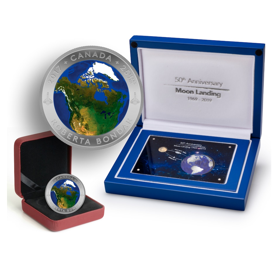 Image 646252.jpg , Product 646-252 / Price $609.90 , Earth, Moon and Space Collection 50 Years of Moon Landing Two-Coin Set (Gold and Silver plus $25 A View from Space) from Royal Canadian Mint on TSC.ca's Coins department