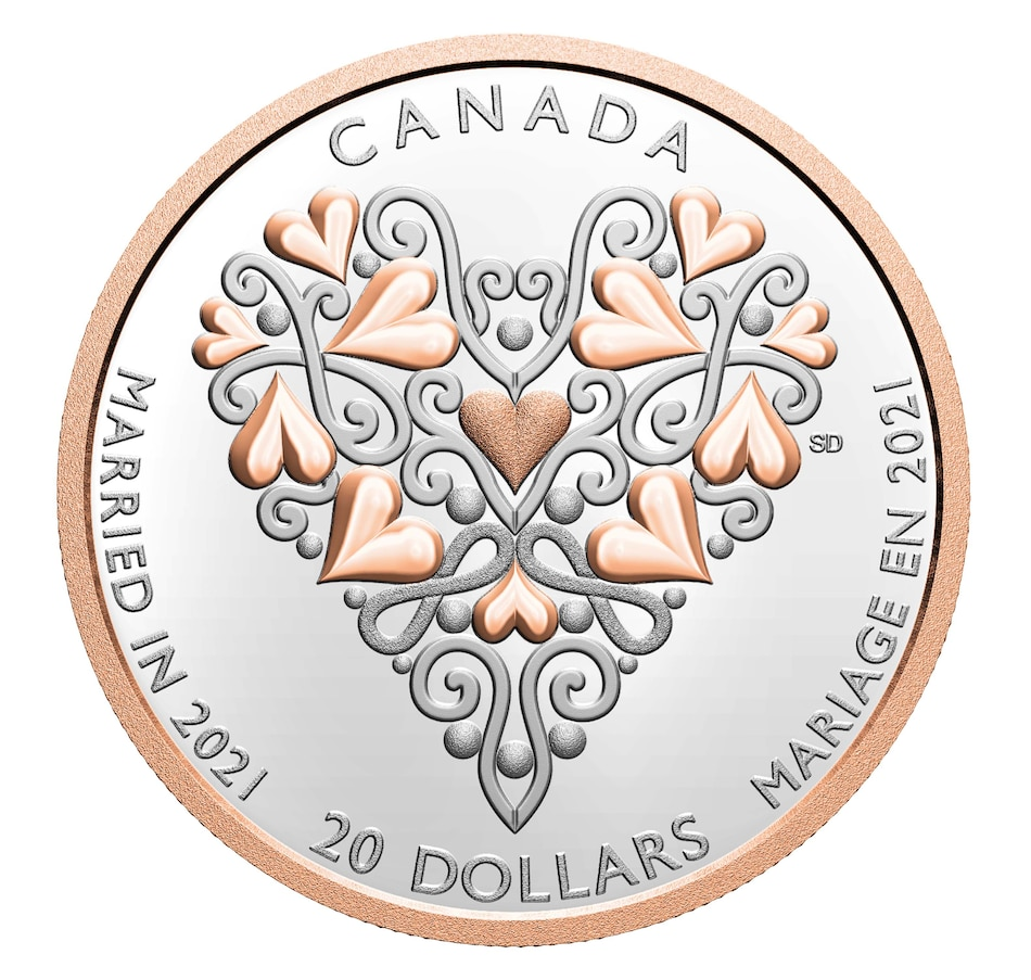 Image 646343.jpg , Product 646-343 / Price $119.95 , 2021 $20 Fine Silver Proof Coin Best Wishes on Your Wedding Day from Royal Canadian Mint on TSC.ca's Coins department