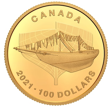 2021 $100 Pure Gold Coin 100th Anniversary of Bluenose: The Launch