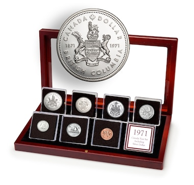 1971 Premium Seven-Piece Year Coin Set in a Mahogany Finish Wood Display Case