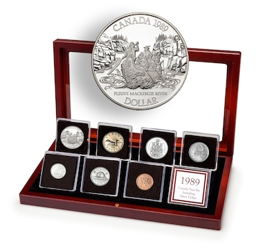 1989 Canadian Proof Coin Set in a Custom Mahogany Finish Case