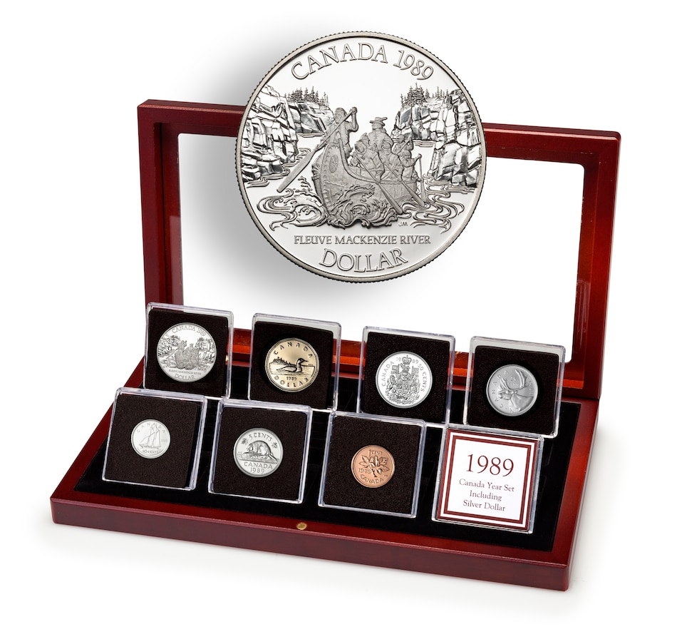 Image 646364.jpg , Product 646-364 / Price $89.95 , 1989 Canadian Proof Coin Set in a Custom Mahogany Finish Case from Canadian Coin & Currency on TSC.ca's Coins department