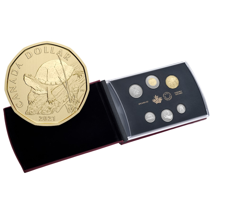 Image 646560.jpg , Product 646-560 / Price $59.95 , 2021 Specimen Coin Set with Unique Turtle Loon Dollar from Royal Canadian Mint on TSC.ca's Coins department