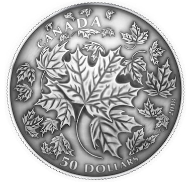 Five-Ounce $50 Fine Silver Convex Coin: Maple Leaves in Motion with Antique Finish
