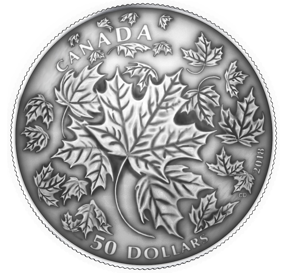 Image 646561.jpg , Product 646-561 / Price $629.95 , Five-Ounce $50 Fine Silver Convex Coin: Maple Leaves in Motion with Antique Finish from Royal Canadian Mint on TSC.ca's Coins department