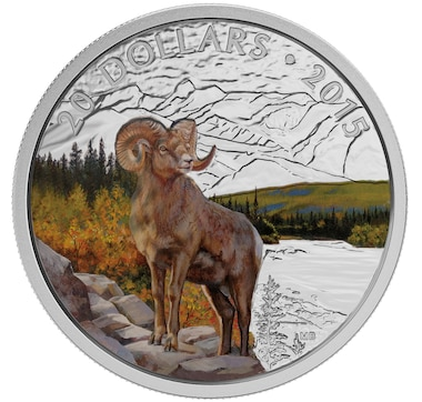 2015 $20 Fine Silver Bighorn Sheep Coin