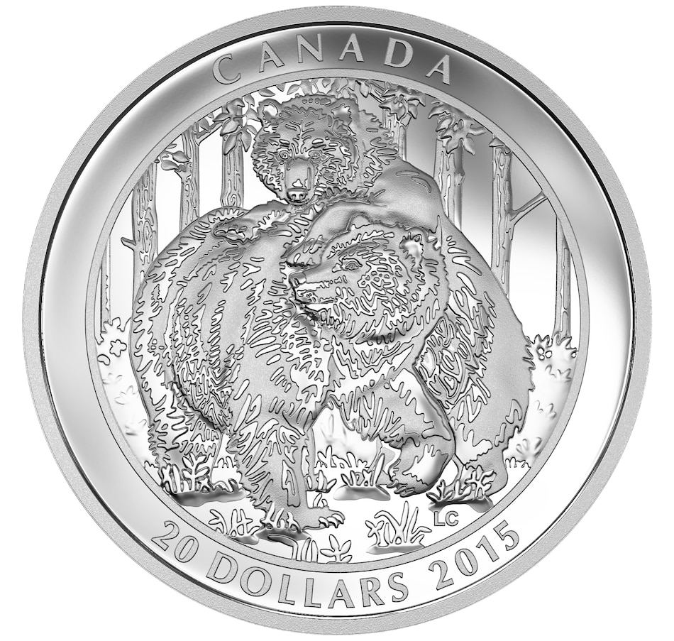 Image 646568.jpg , Product 646-568 / Price $88.88 , 2015 $20 Grizzly Bear Fine Silver Coin from Royal Canadian Mint on TSC.ca's Coins department
