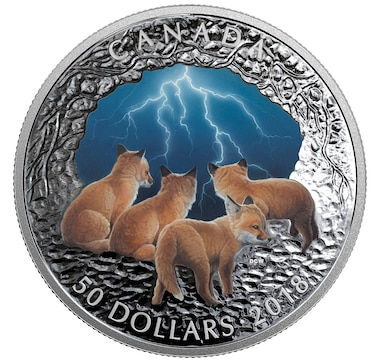 2018 $50 Fine Silver Coins: Nature's Light Show - Stormy Night