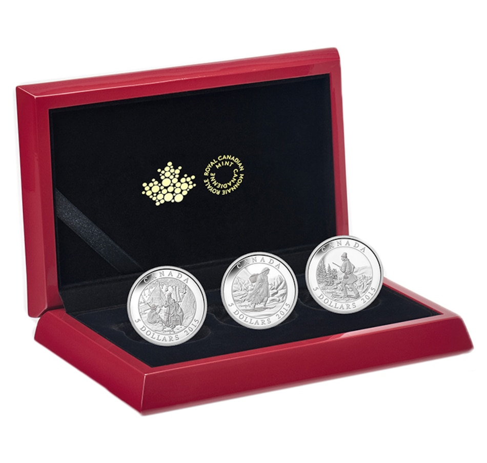 Image 647034.jpg , Product 647-034 / Price $148.88 , $5 Fine Silver Cornelius Krieghoff 3-Coin Set plus Three Colour Images of the Original Artwork from Royal Canadian Mint on TSC.ca's Coins department