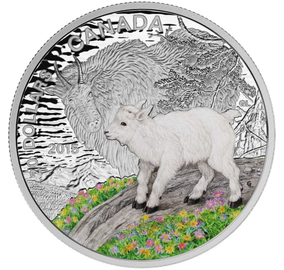 Image 647747.jpg , Product 647-747 / Price $99.95 , $20 Baby Mountain Goat Fine Silver Coin 2015 from Royal Canadian Mint on TSC.ca's Coins department