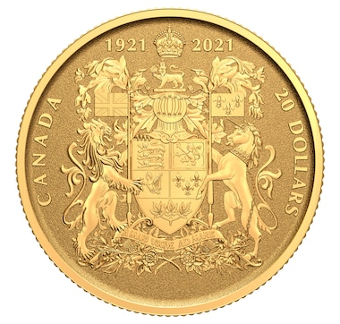 1921–2021 $20 Pure Gold Coin 100th Anniversary of Canada's Coat of Arms