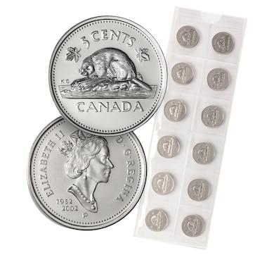Twelve 2002 Golden Jubilee Gem Uncirculated Five-Cent Coins