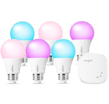 Sengled Smart Hub with 6 Smart LED Multicolor A19 Light Bulbs